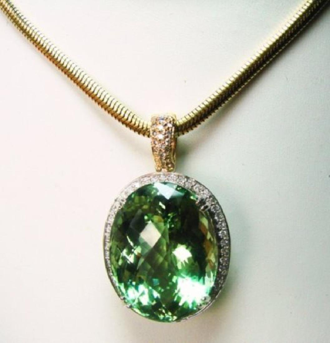 Green Amethyst & Diamond Pendant 46.64Ct 14k W-Y/g - 3