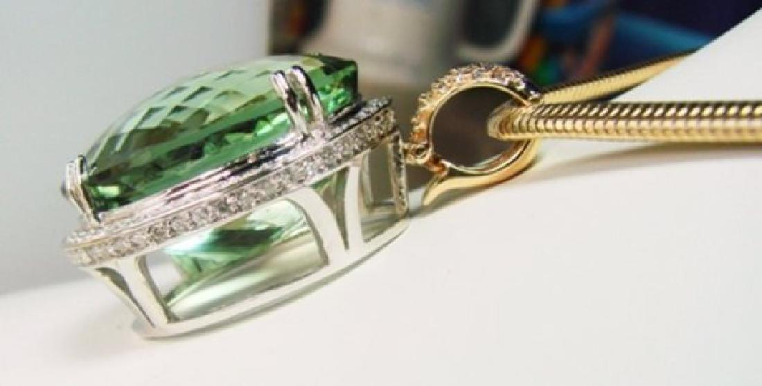 Green Amethyst & Diamond Pendant 46.64Ct 14k W-Y/g - 4