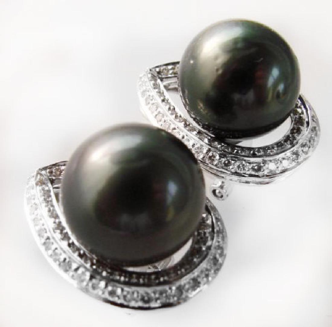 13mm Tahitian Pearl Diamond Earring 1.00Ct 18kW/g - 2
