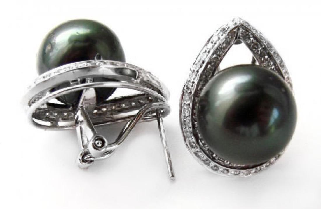 13mm Tahitian Pearl Diamond Earring 1.00Ct 18kW/g - 3