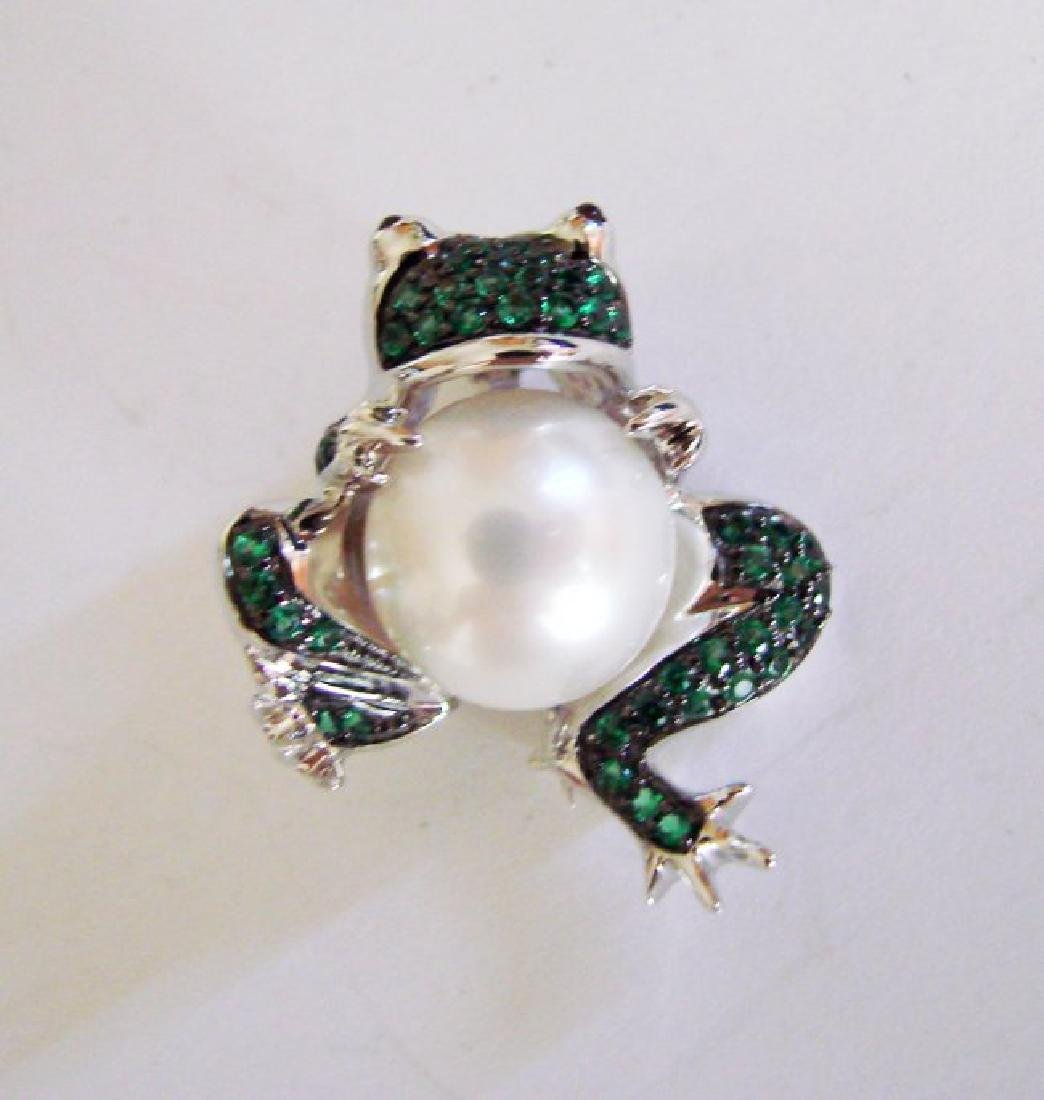 Culture Pearl Creation Emerald .52ct 18k W/g Overlay