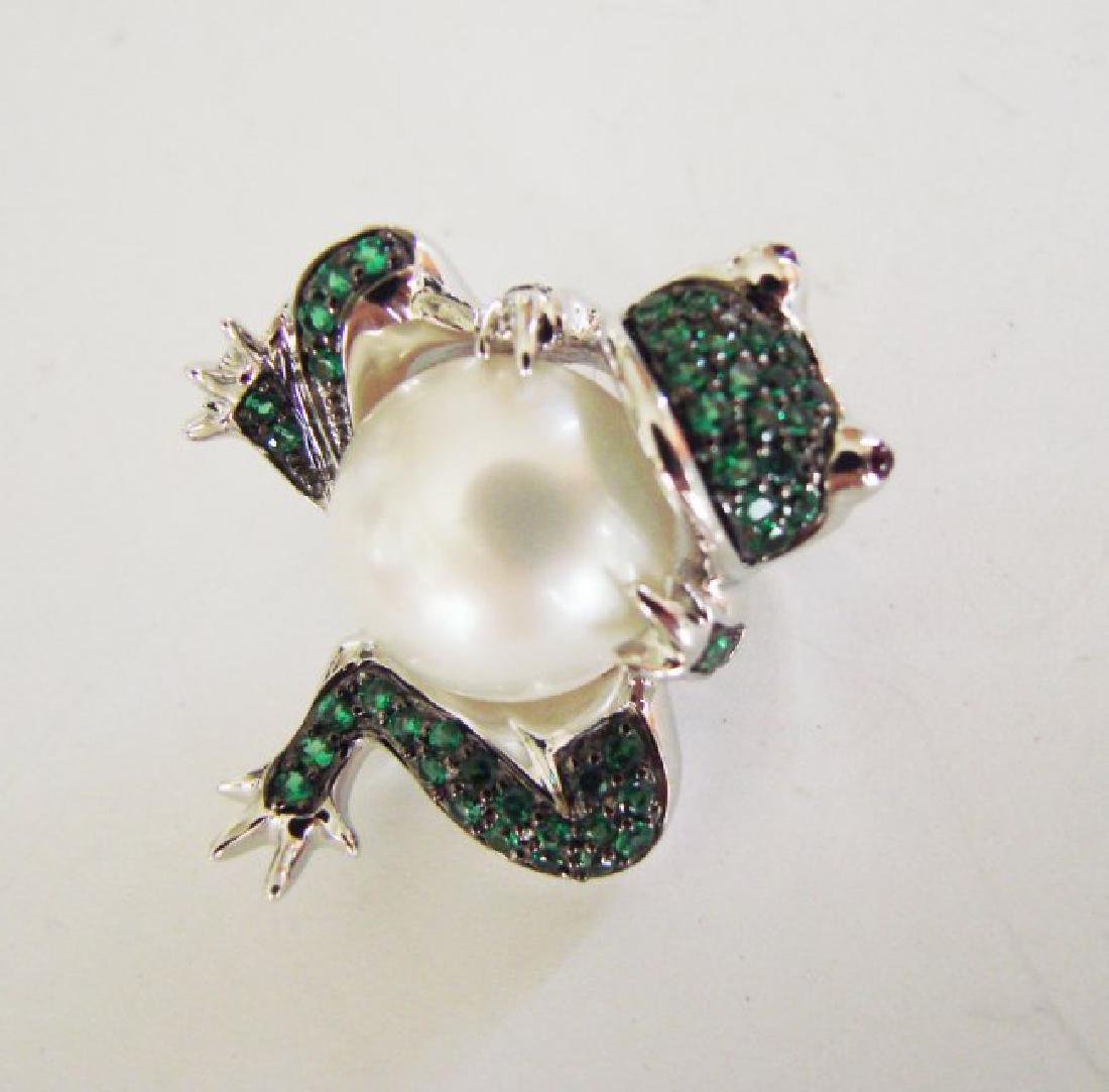 Culture Pearl Creation Emerald .52ct 18k W/g Overlay - 2