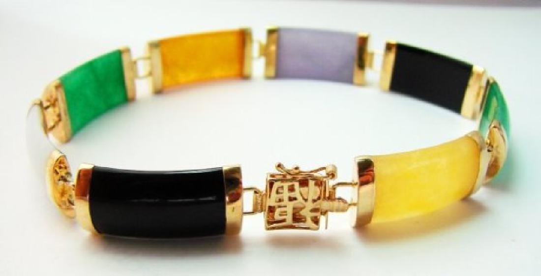 Multi Color Jade Bracelet 14k Yellow Gold