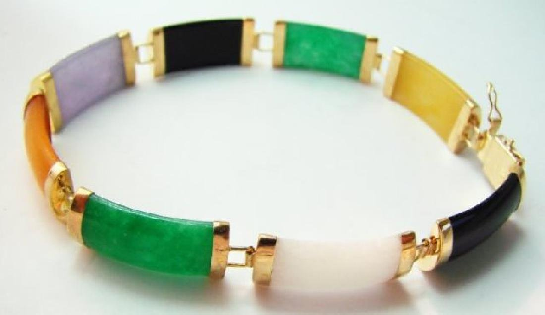 Multi Color Jade Bracelet 14k Yellow Gold - 2