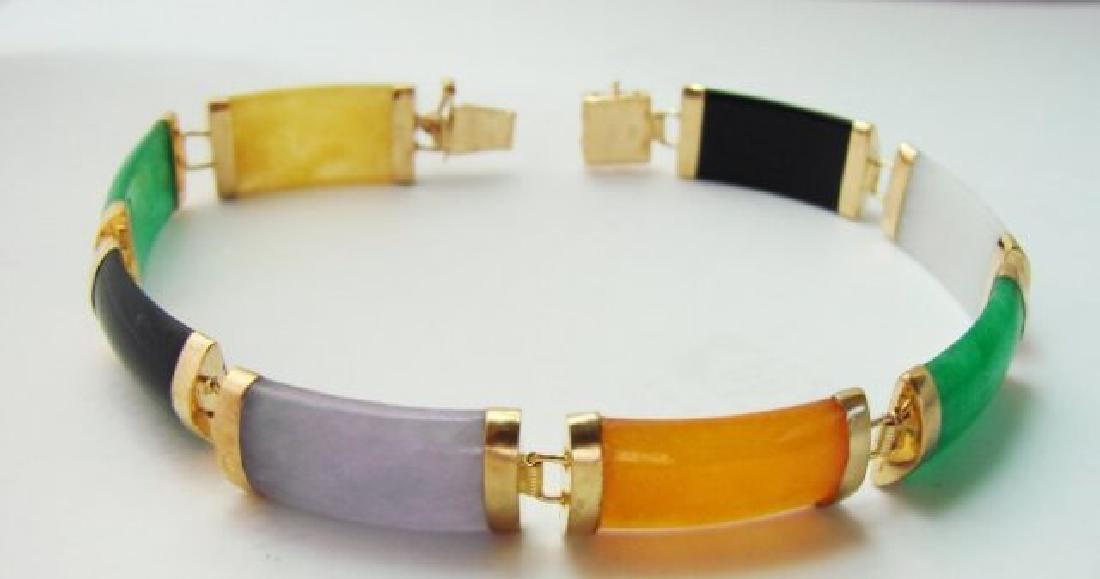 Multi Color Jade Bracelet 14k Yellow Gold - 4