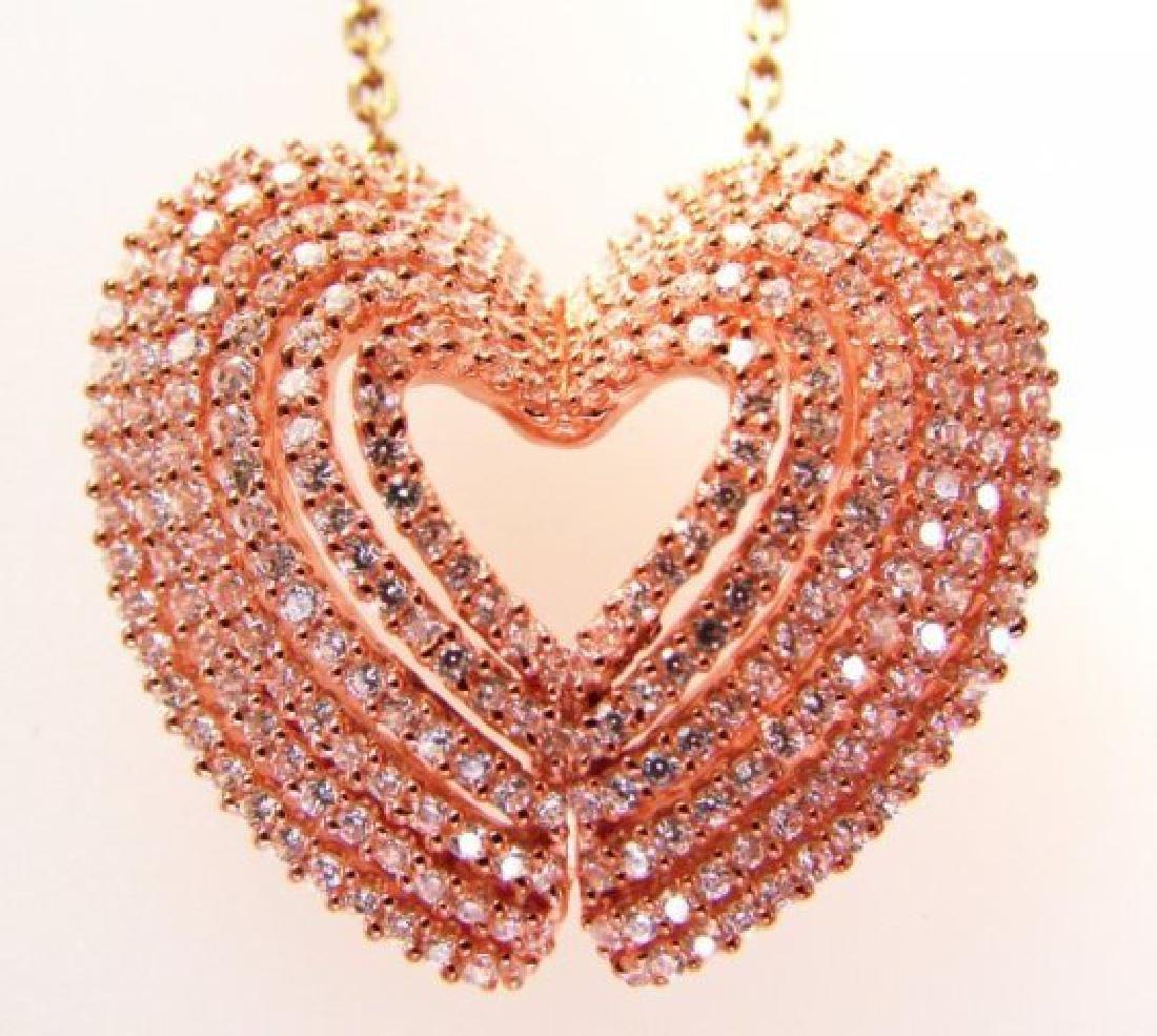 Creation Diamond Heart Pendant 2.45ct 18k R/g Over