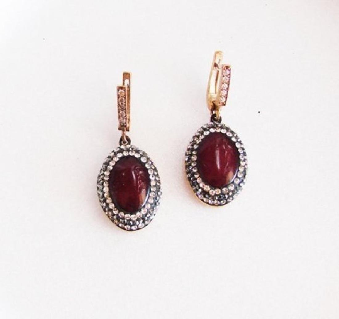 Red Agate Earrings 24.96Ct 18k Two Tone Overlay - 2