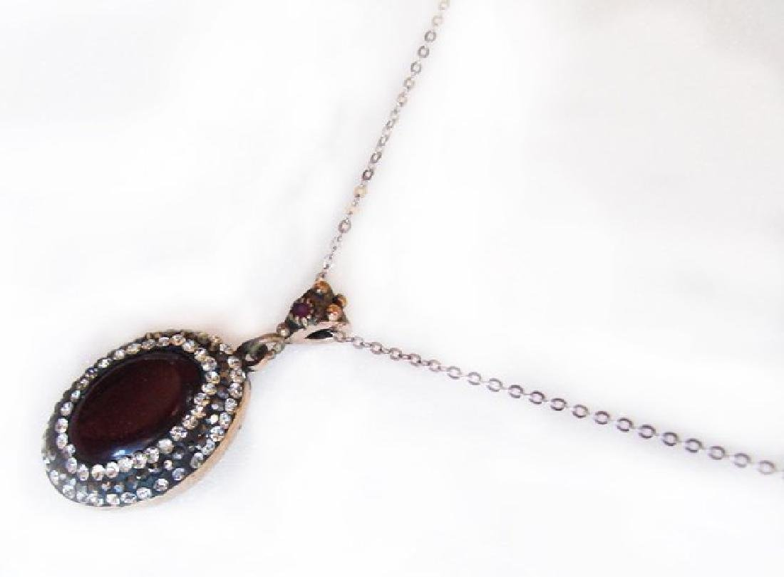 Red Agate Hematite Cryst Pendant 3.12Ct 18k Y/W Overlay - 2
