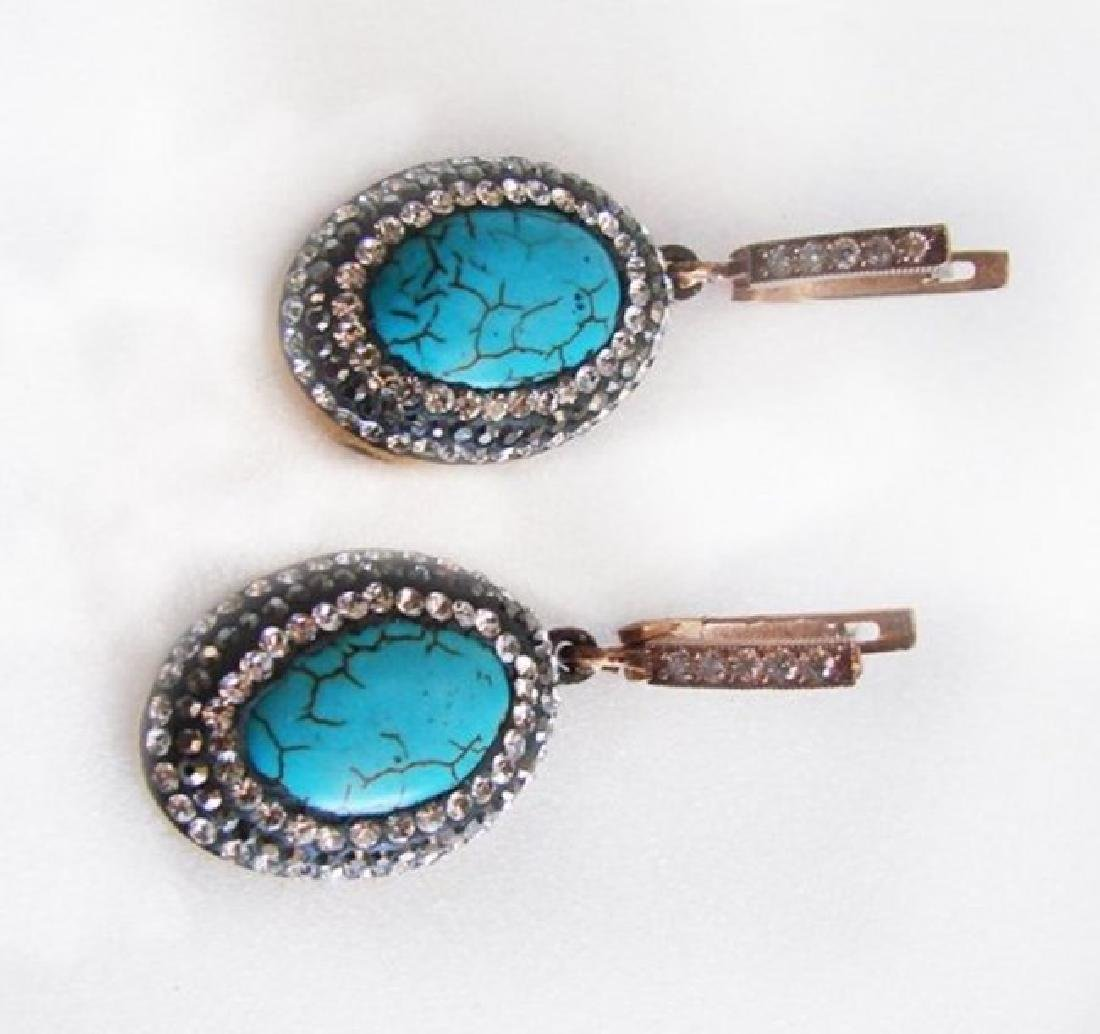 Natural Turquoise Earrings 22.05Ct 18k Y/g Overlay - 2