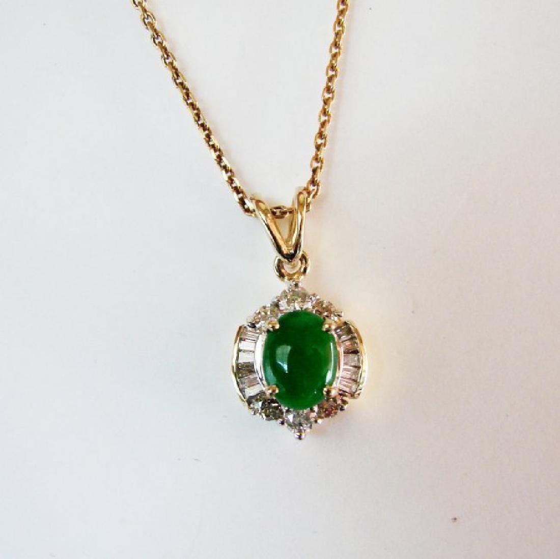 Pendant Imperial Jade/Diamond 1.89Ct 14k Y/g