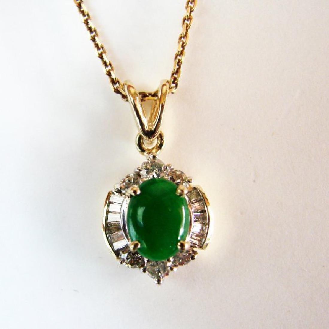 Pendant Imperial Jade/Diamond 1.89Ct 14k Y/g - 2