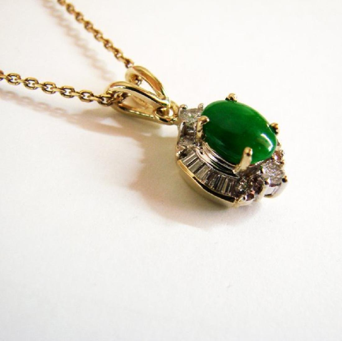 Pendant Imperial Jade/Diamond 1.89Ct 14k Y/g - 3