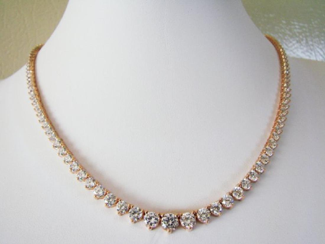 Necklace Diamond Creation 20.00Ct 18k R/g Overlay