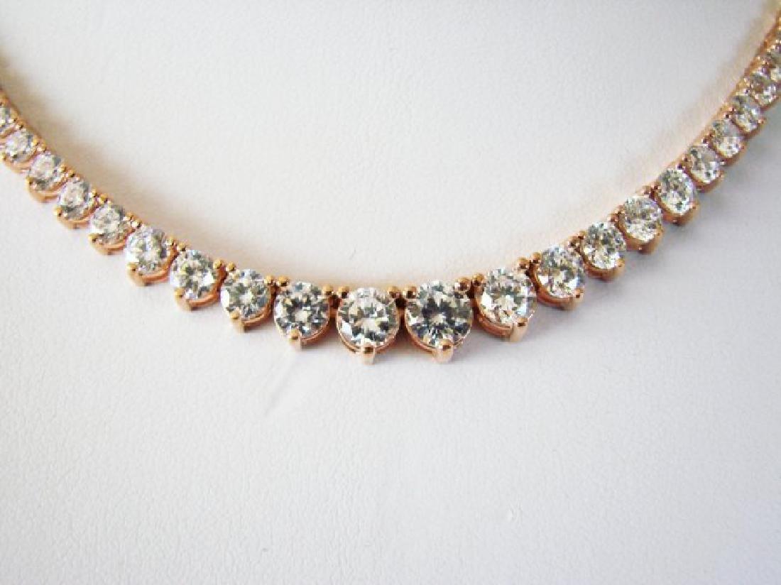 Necklace Diamond Creation 20.00Ct 18k R/g Overlay - 2