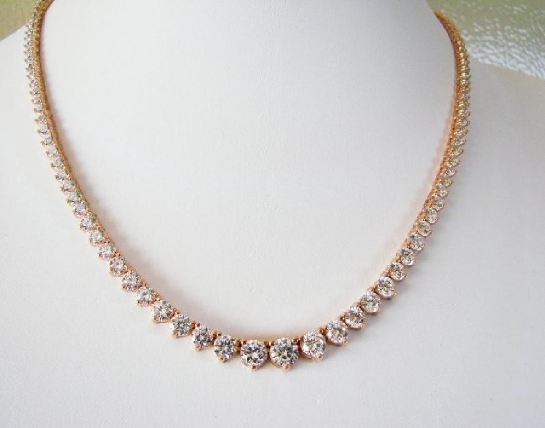 Necklace Diamond Creation 20.00Ct 18k R/g Overlay - 3