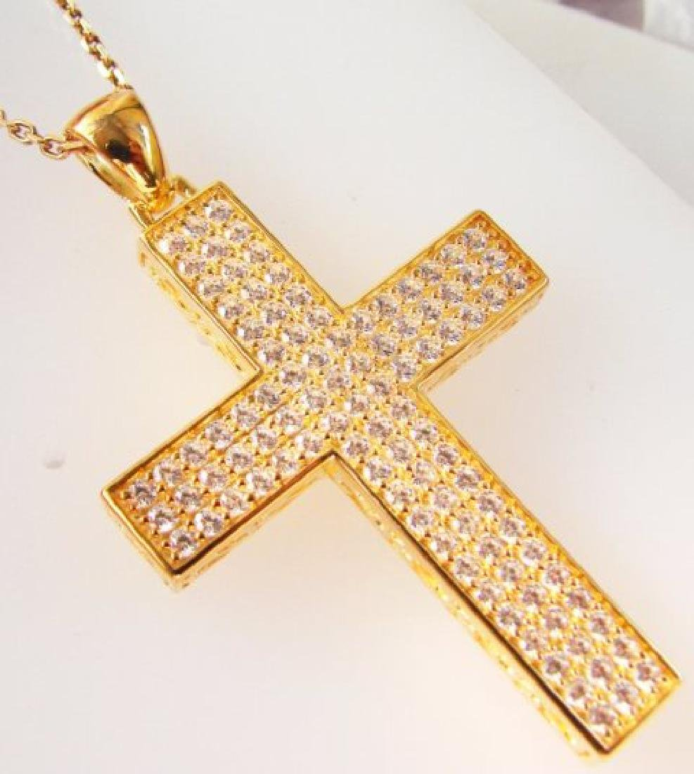 Cross Pendant Dia: Creation 2.48Ct 18k Y/g Over