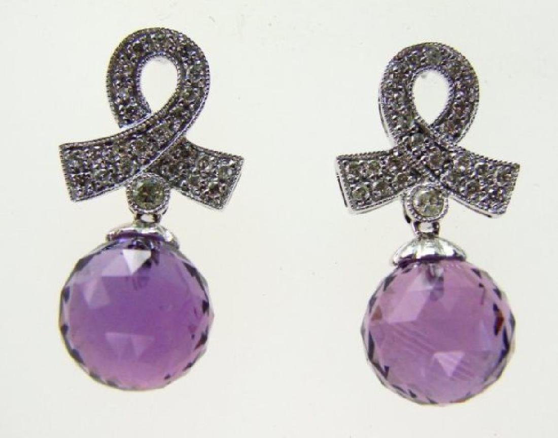 Amethyst Earrings 13.75CTDia:.42 14.17Ct 14kW/g