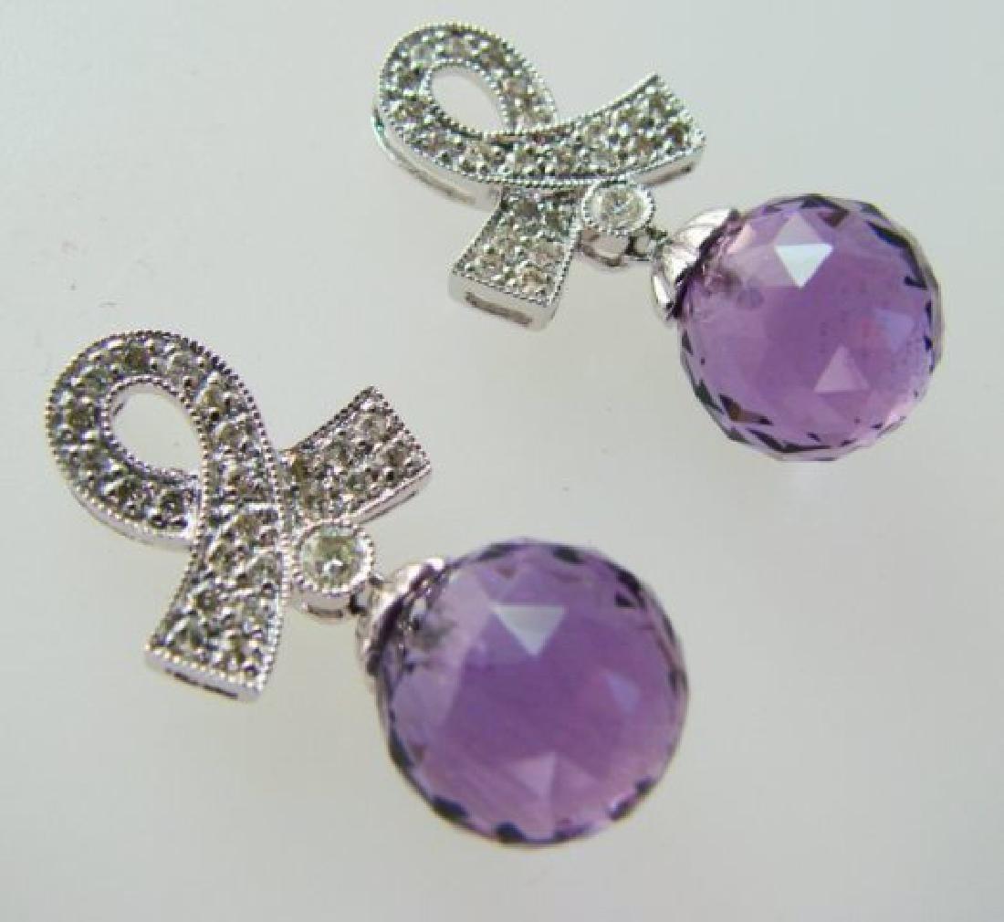Amethyst Earrings 13.75CTDia:.42 14.17Ct 14kW/g - 2