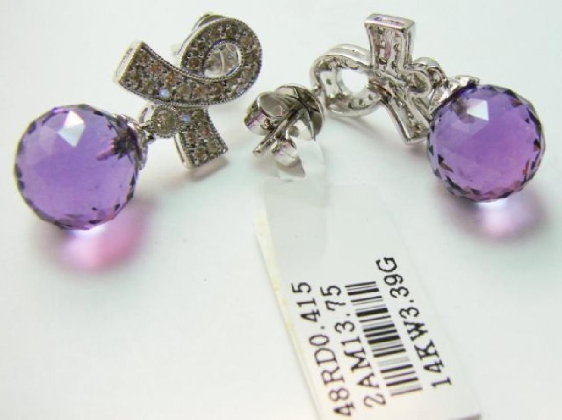 Amethyst Earrings 13.75CTDia:.42 14.17Ct 14kW/g - 3