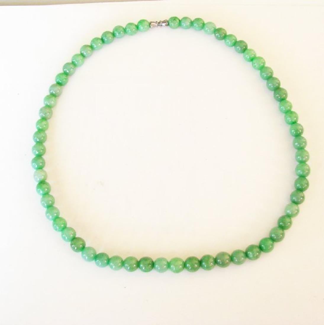 Natural Jade Beads Necklace Size 9 mm - 3