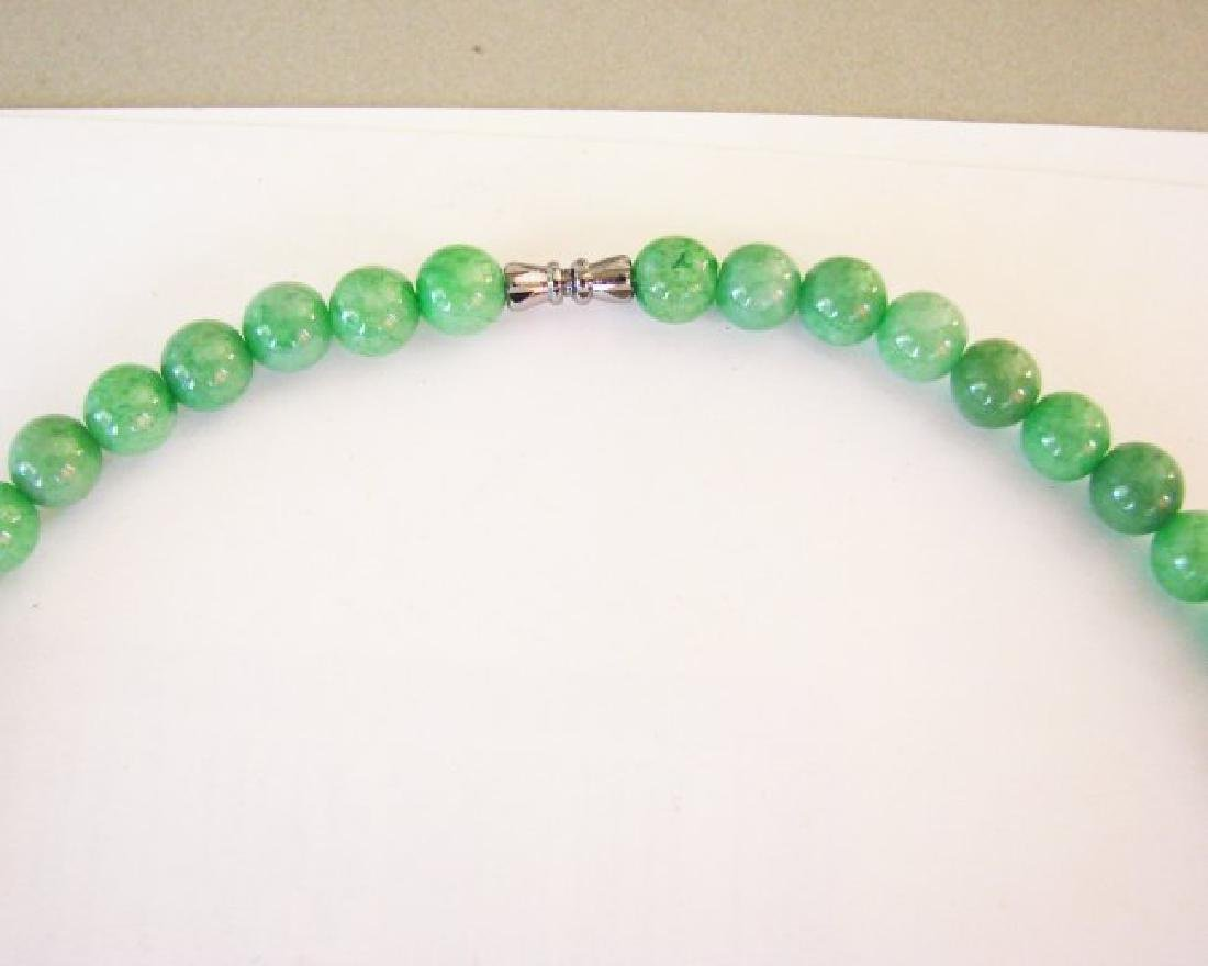 Natural Jade Beads Necklace Size 9 mm - 4