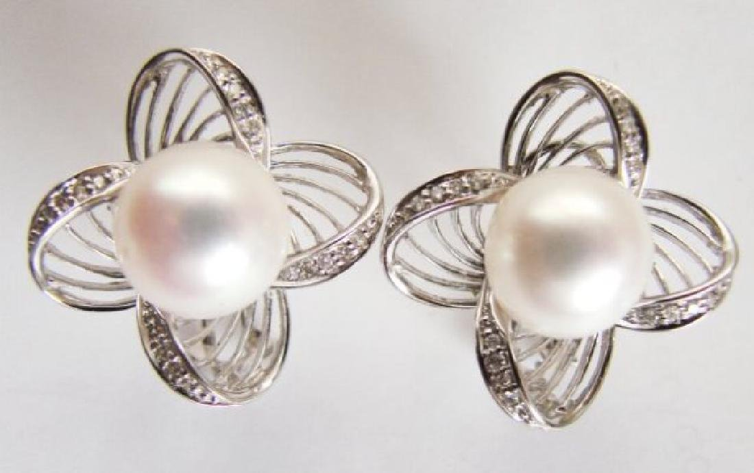Culture Pearl Diamonds Earring .30Ct 14k W/g - 2