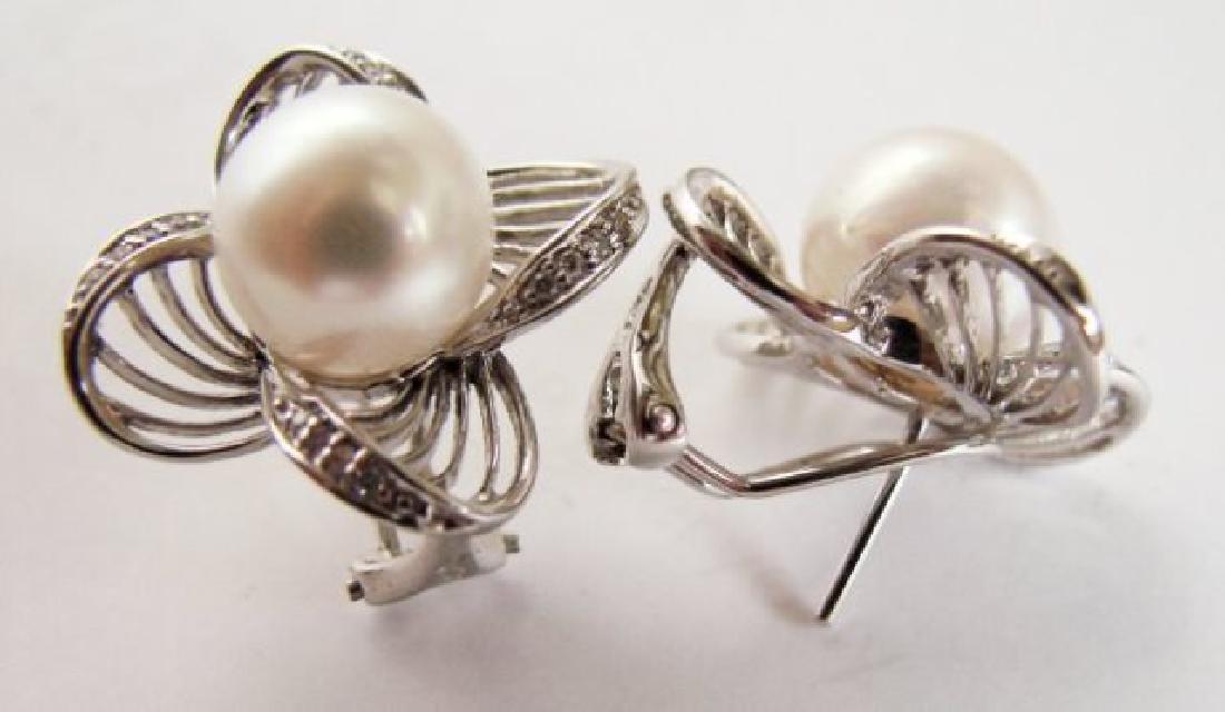 Culture Pearl Diamonds Earring .30Ct 14k W/g - 3