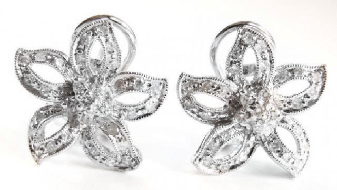 Flower Design Diamonds Earrings .86Ct 14k W/g