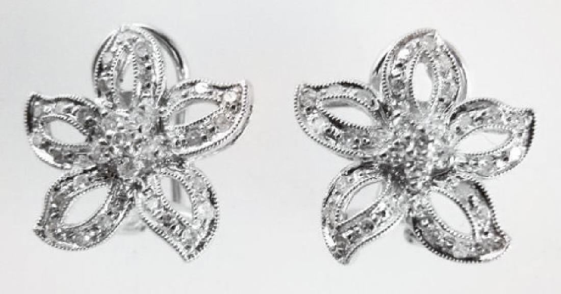 Flower Design Diamonds Earrings .86Ct 14k W/g - 2