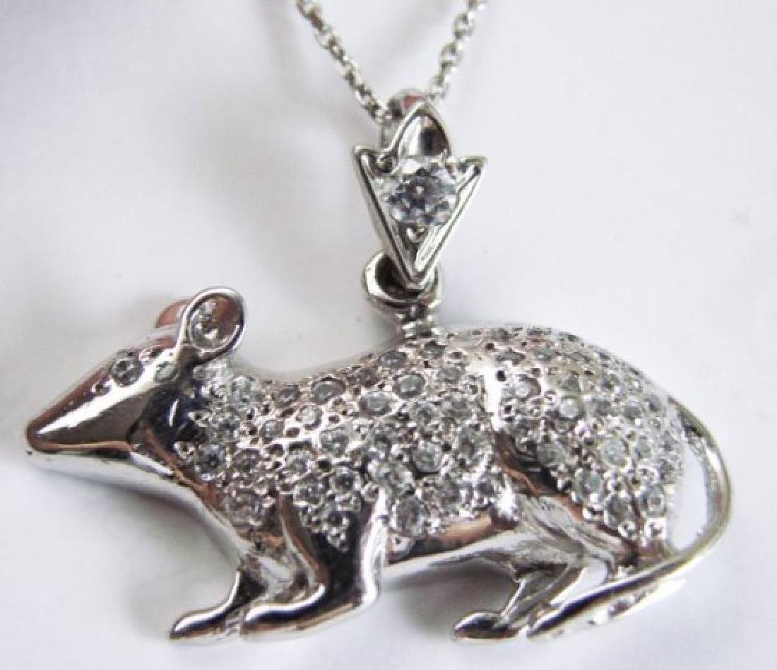 Mice Pendant Diamond Creation 1.20Ct 18k W/g Over - 2