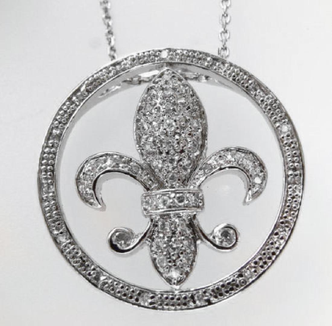 Fleur De Li Pendant Diamond Creation.55Ct 18kW/g