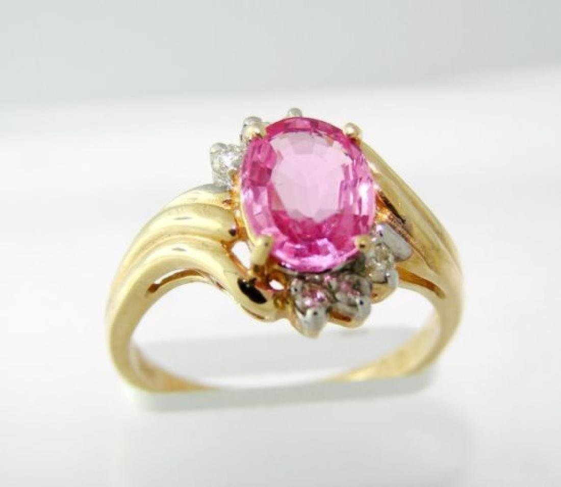 Pink Sapphire Diamond Ring 1.88Ct 14k Yellow Gold