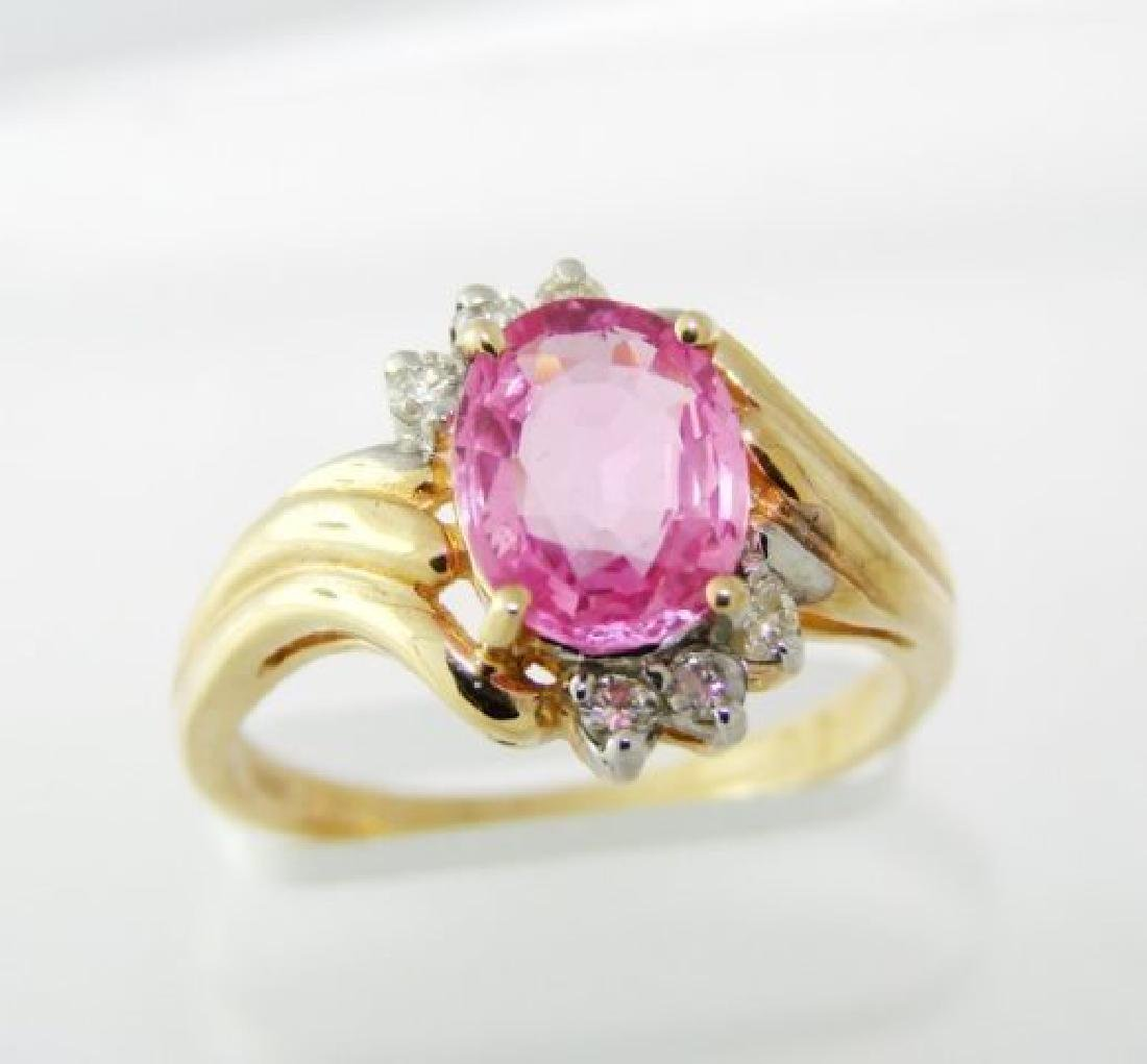 Pink Sapphire Diamond Ring 1.88Ct 14k Yellow Gold - 2