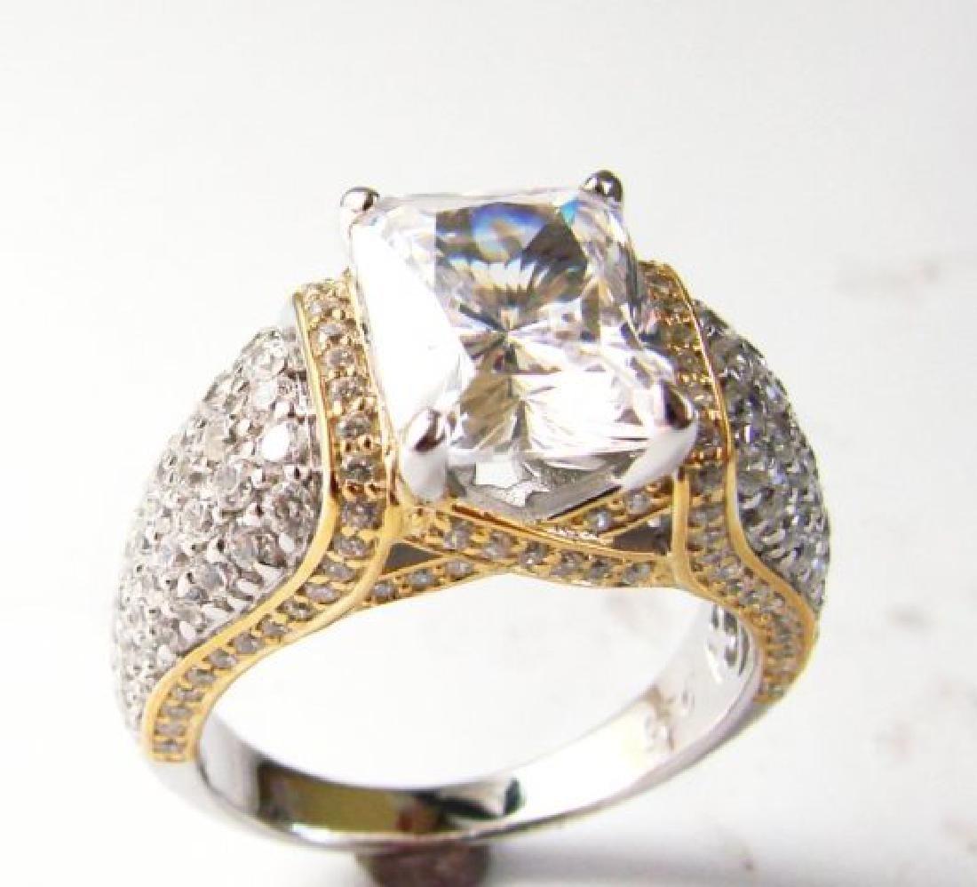 Creation Diamonds Ring 5.50ct 18k W-Y/g Overlay