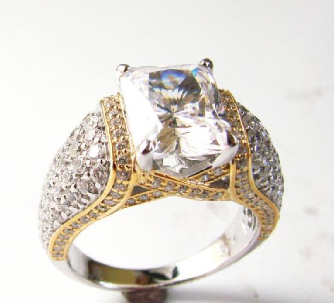 Creation Diamonds Ring 5.50ct 18k W-Y/g Overlay