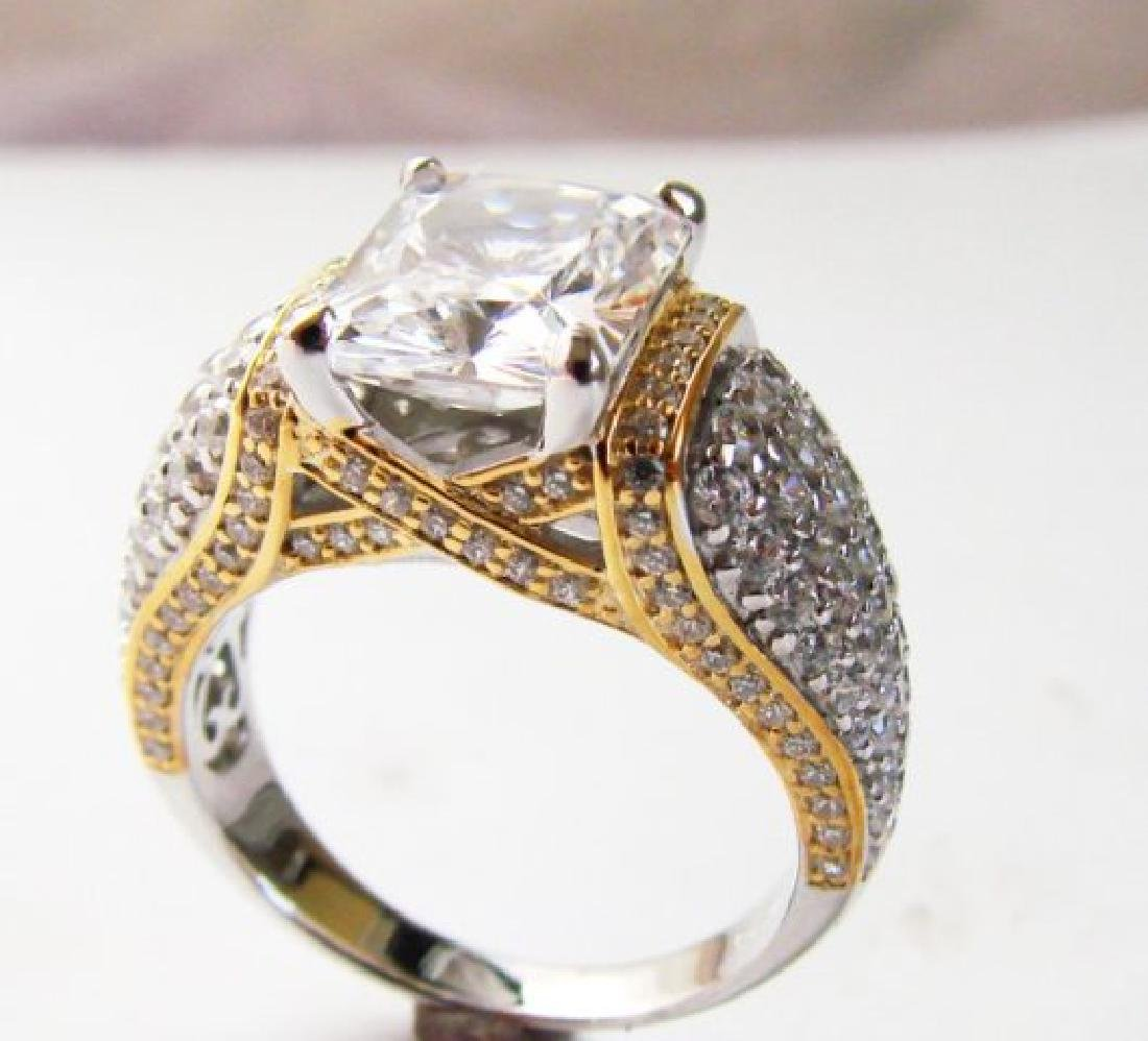 Creation Diamonds Ring 5.50ct 18k W-Y/g Overlay - 2