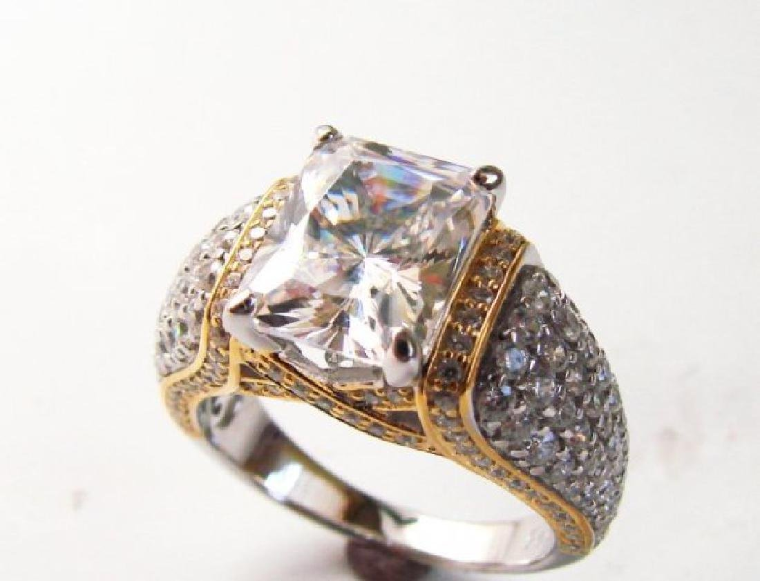 Creation Diamonds Ring 5.50ct 18k W-Y/g Overlay - 3