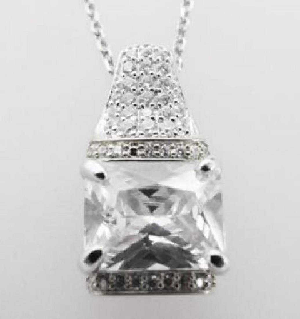 Creation Diamond Pendant 5.10ct 18k W/g Overlay