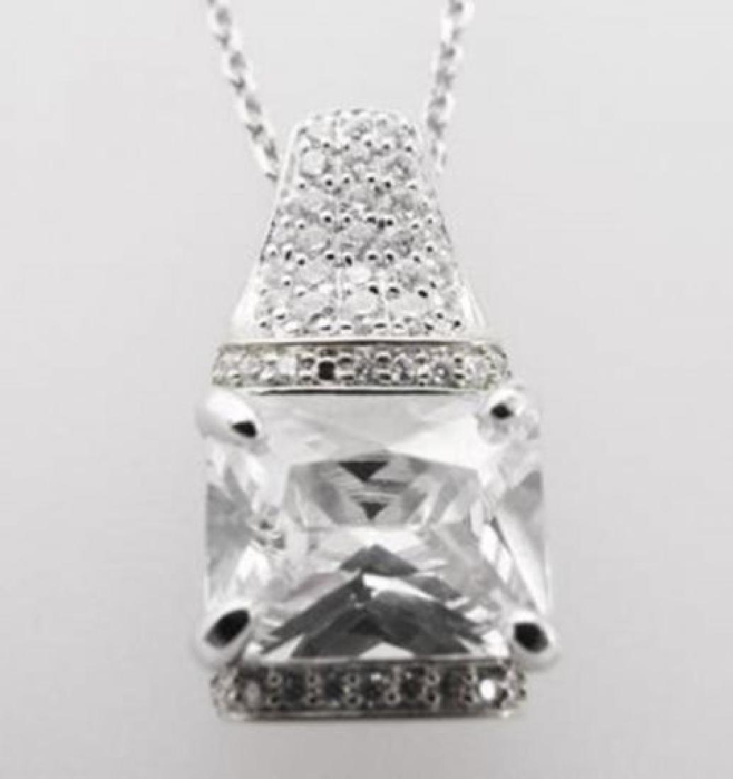 Creation Diamond Pendant 5.10ct 18k W/g Overlay