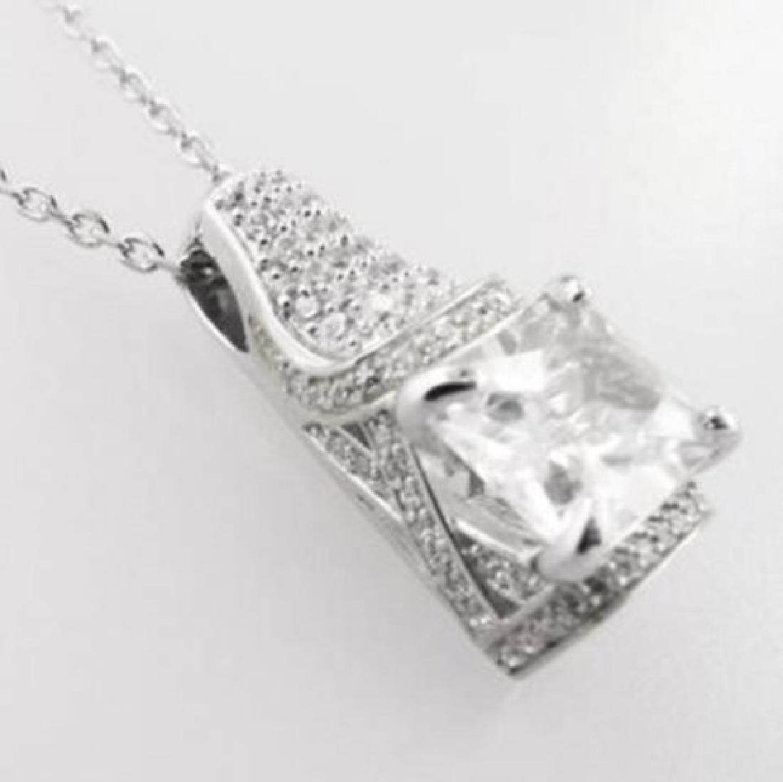 Creation Diamond Pendant 5.10ct 18k W/g Overlay - 2