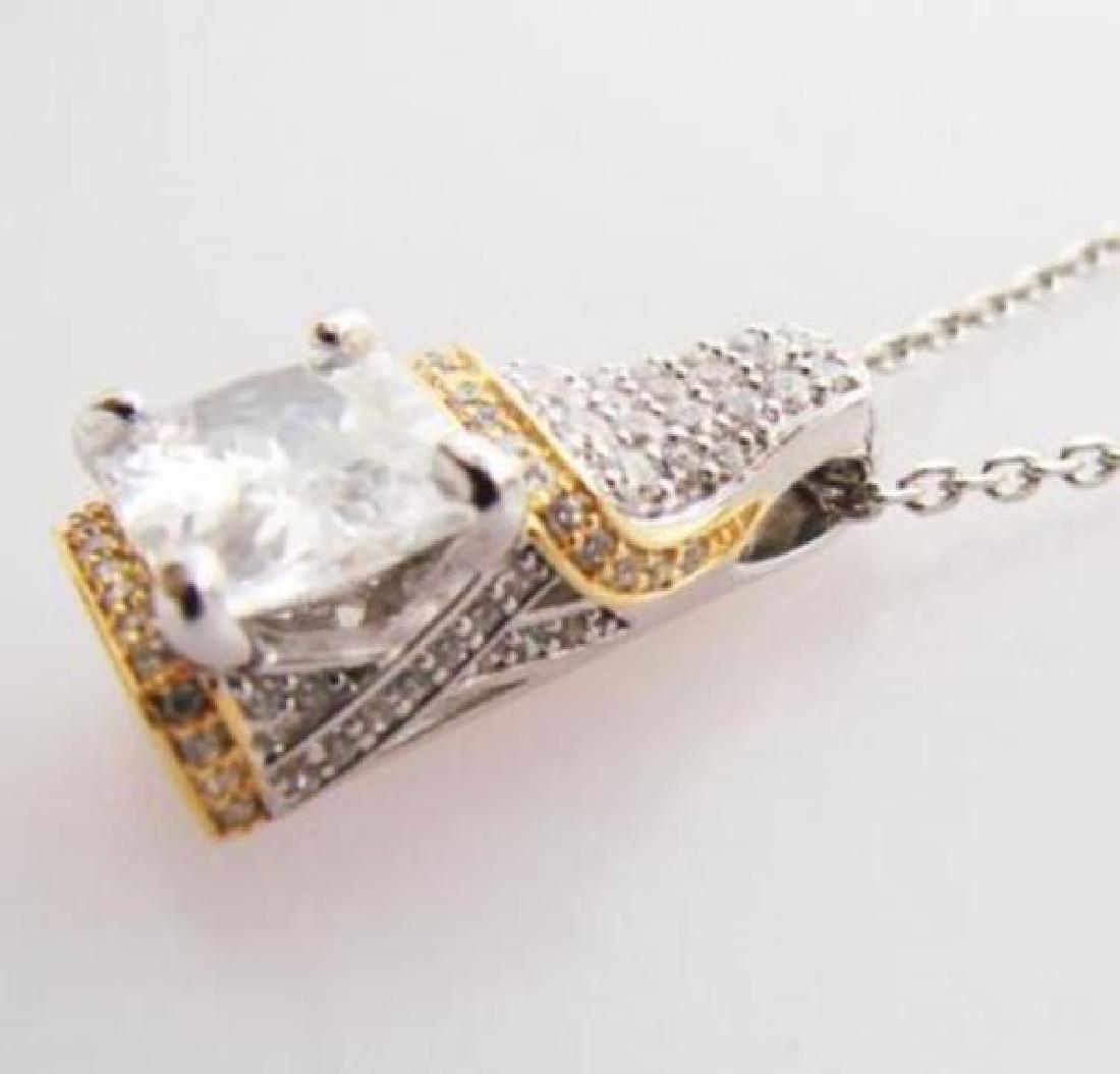 Creation Diamond Pendant 5.10ct 18k W-Y/g Overlay - 2