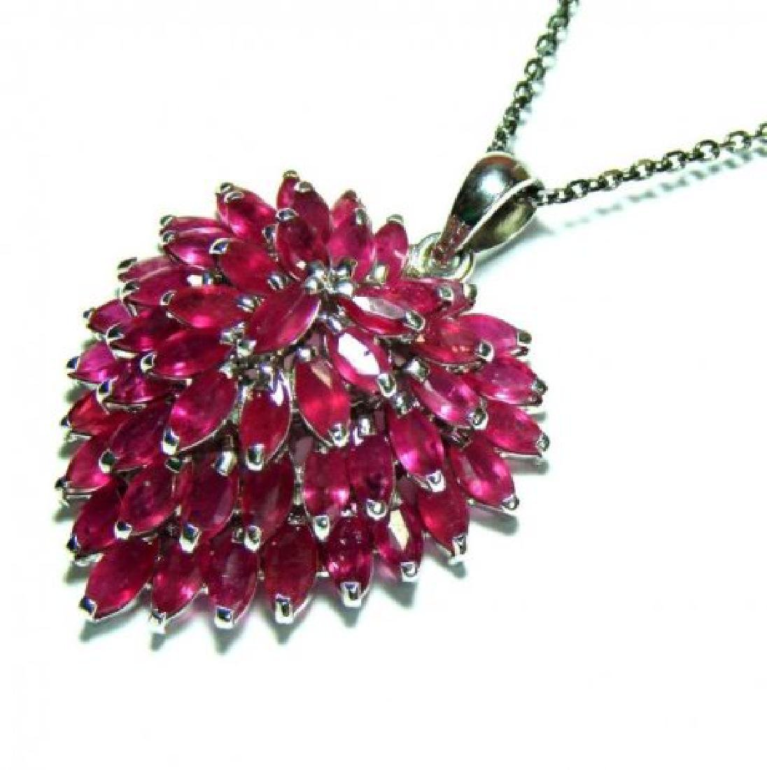 Natural Ruby Marquise Pendant 13.45Ct 18k W/g Overlay - 2