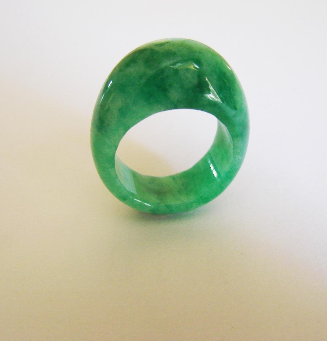 Natural Chinese Jadeit Jade Dome Ring Grade A Size: 9 - 2