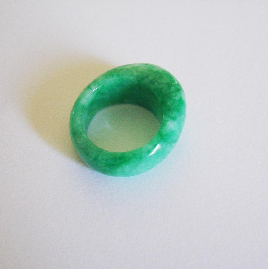 Natural Chinese Jadeit Jade Dome Ring Grade A Size: 9 - 3