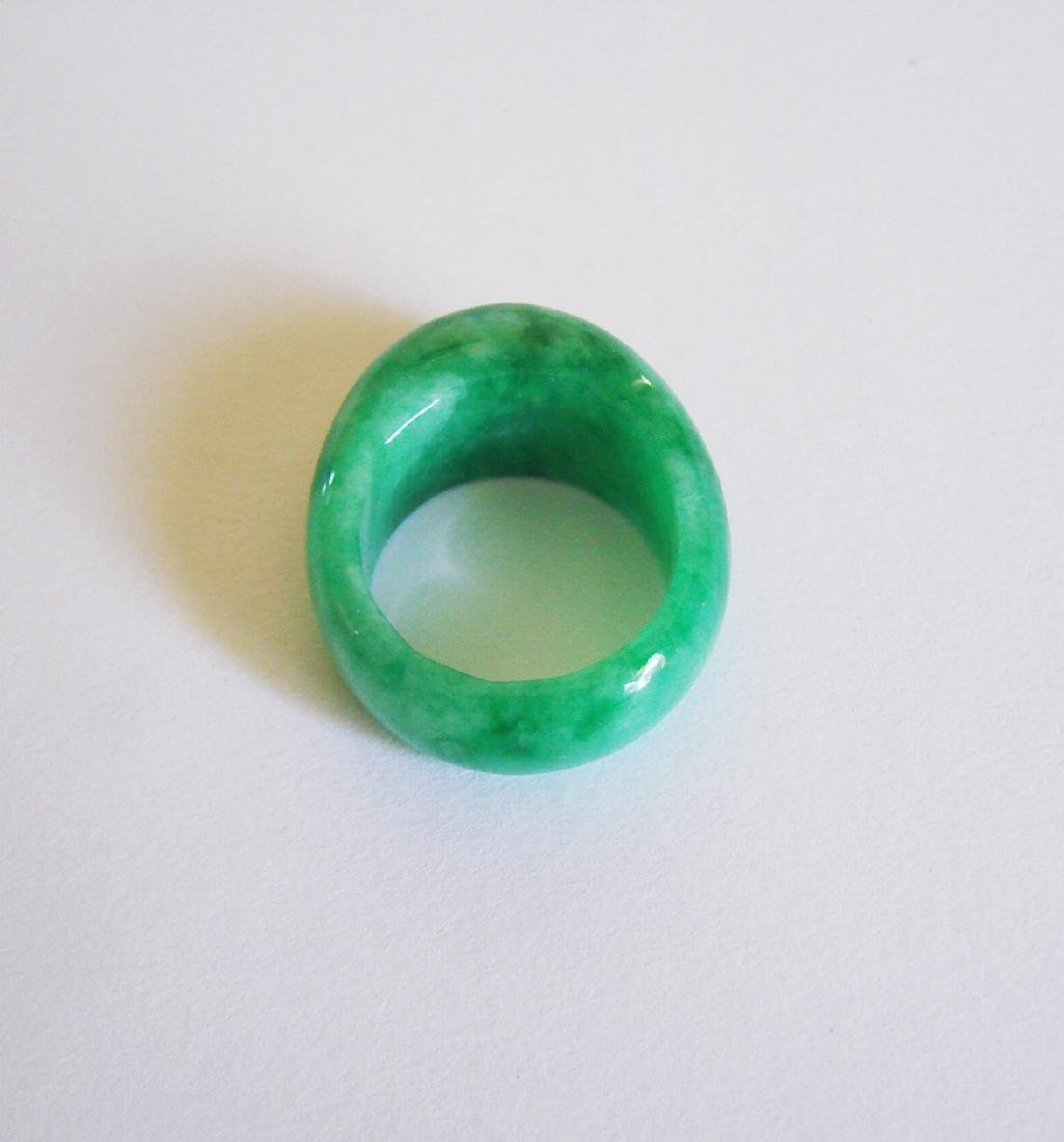 Natural Chinese Jadeit Jade Dome Ring Grade A Size: 9 - 4