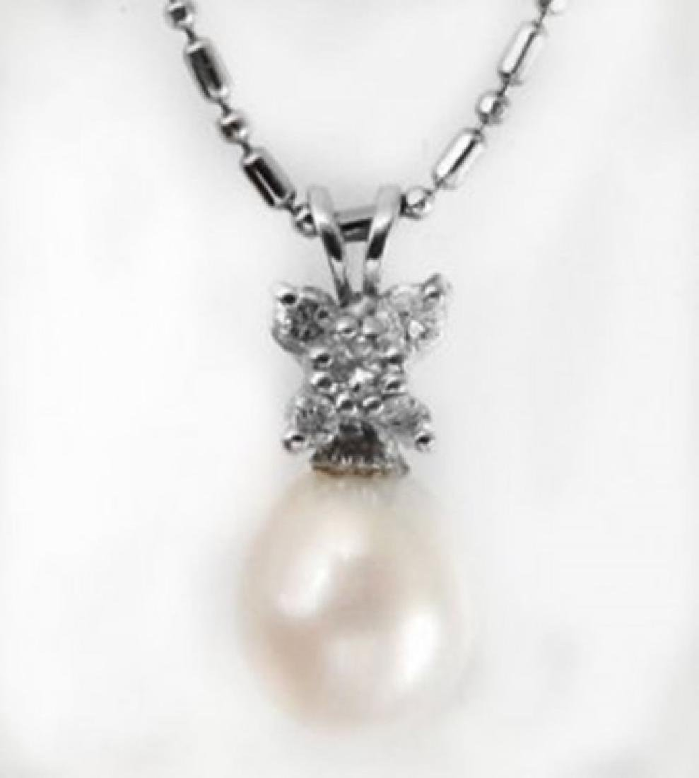 Culture Pearl-Diamond Butterfly Pendant.27Ct 14k W/g - 2