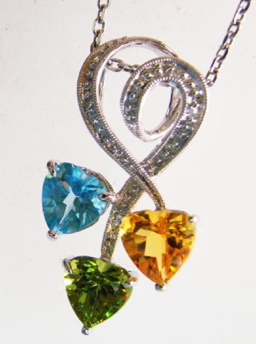 Multi Color Design Diamond Pendant:1.75Ct 14K W/G - 2