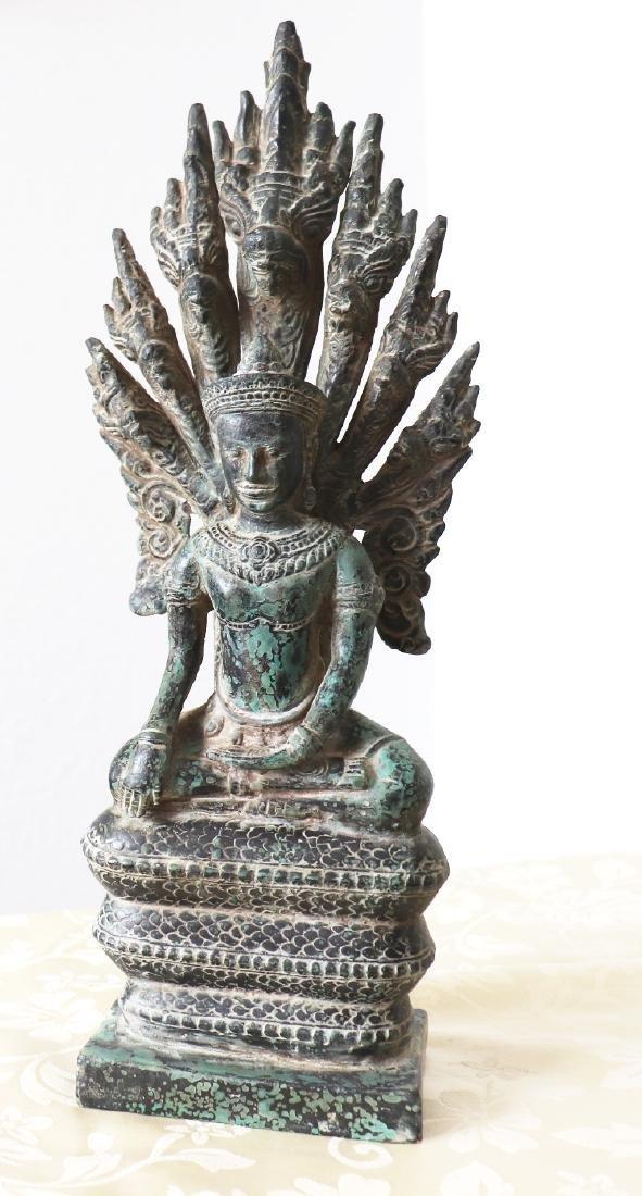 Khmer Buddha On Naga Angkor Period Statue 12th Century