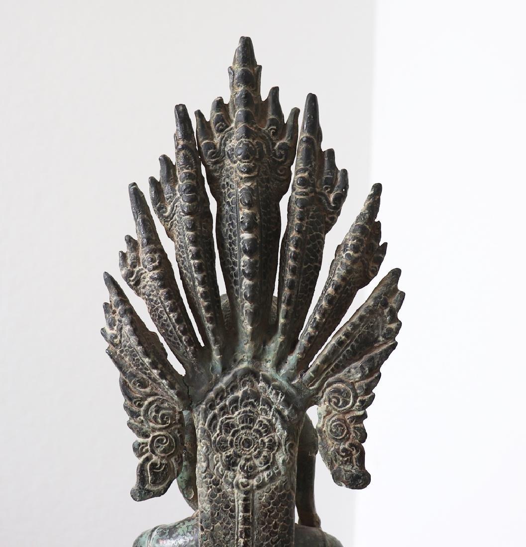 Khmer Buddha On Naga Angkor Period Statue 12th Century - 7