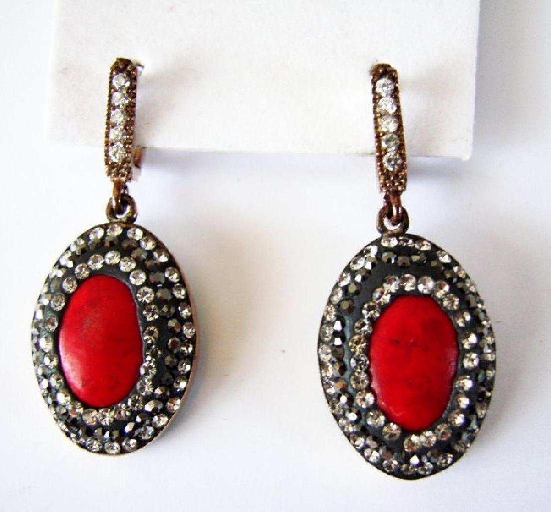 Natural Coral Earrings 24.95Ct 18k Two Tone Overlay
